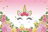 YongFoto 2,2x1,5m Fondo de Fotografia Unicornio Linda Cabeza de Unicornio con Flores Rosadas Telón de Fondo Cumpleaños Fiesta Baby Shower Niños Bebé Chicas Bandera Estudio fotográfico Accesorios