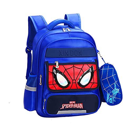 Xyh723 Mochila para Niños Spider-Man Satchel Viajes Escolar De Vacaciones Adolescentes Impermeable Al Aire Libre Superhéroe Dibujos Animados Almuerzo,BlueA-L