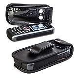 caseroxx Bolsa de Cuero con Clip para el cinturón para Samsung B2710, Funda Carcasa de Cuero Real en Negro