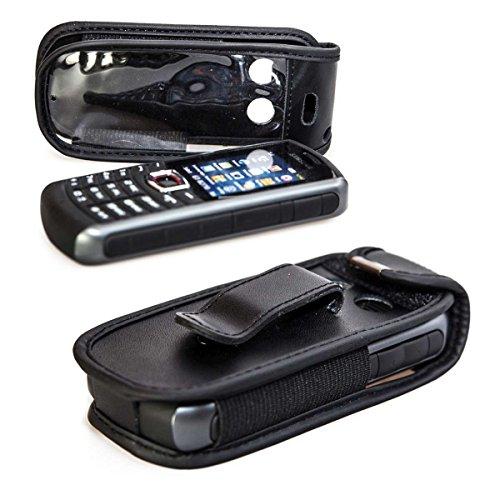 caseroxx Ledertasche mit Gürtelclip für Samsung B2710 aus Echtleder, Handyhülle für Gürtel (mit Sichtfenster aus schmutzabweisender Klarsichtfolie in schwarz)