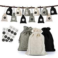 NALER クリスマス カウントダウンカレンダー 巾着袋 ギフトバッグ ラッピング アドベントカレンダー 袋 クリスマスツリーオーナメント クリスマス数字シール ベージュ色 ライトグレー ブラック 黒 24個セット