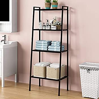 SDHYL 4-Tier 58  Tall Metal Ladder Shelf Storage Shelf Rack Bookshelf Plants Shelf for Balcony Garden Bedroom Bathroom Kitchen and Living Room Multifunctional Display Shelf S7-LXH-TJ60B-US
