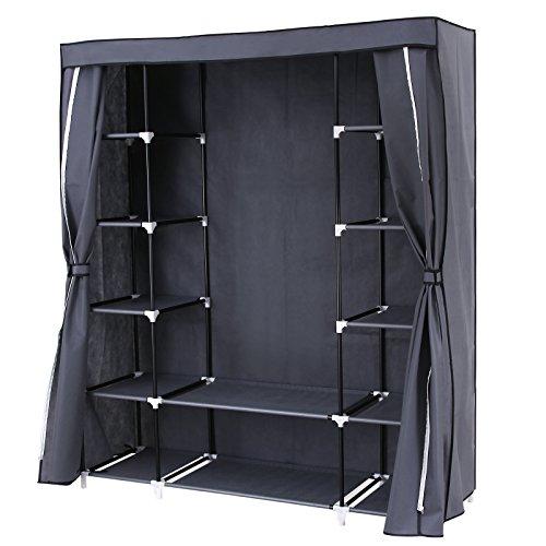 SONGMICS Faltschrank Kleiderschrank mit Schiebevorhang 175 x 150 x 45cm grau RLG45G