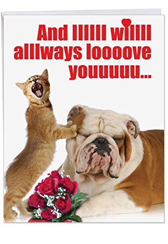Big I Will Always Valentine's Day Card with Envelope (Letterhead 8.5 x 11 Inch) - Funny Valentines Day Cards with Dog, Cat, Animal Love - Cute, Adorable Notecard Stationery J2180