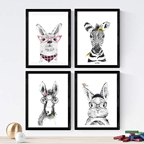 Set de 4 láminas de Animales Infantiles Con Gafas Y Gorros ,en tamaño A4, Poster papel 250 gr. Sin Marco