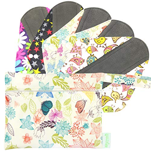 Wegreeco Bamboo Reusable Sanitary Pads - Cloth Sanitary Pads - Pack of 5, 1 Cloth Mini Wet Bag Bonus...