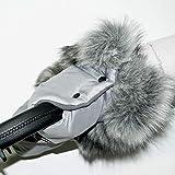 Baby-Joy Muff mit Kunstfell Flauschiger Handwärmer Handschutz Kinderwagenhandschuh Schlittenhandschuh (MF2-0602 | Grau-Graphit)
