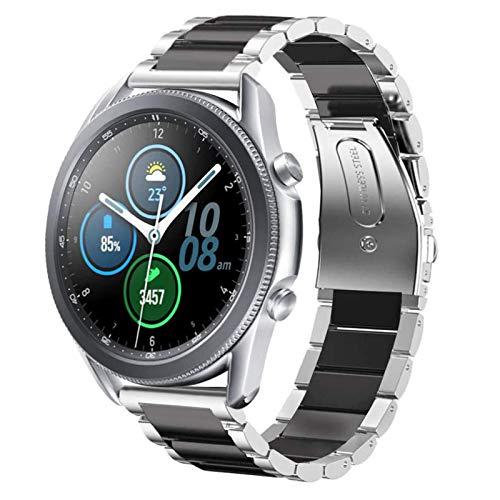 NEAWO Kompatibel mit Galaxy Watch 3 Armband 45mm, Galaxy Watch 46mm Armband, Gear S3 Frontier/Classic Armband, 22mm Edelstahl Armband Metall Ersatzband (Edelstahl Silber/Schwarz)