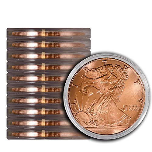 Price comparison product image Pack of 10 Walking Liberty 1 oz Copper Round Medallion in Protective Capsules