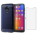 Phone Case for Motorola Moto G7 Play Optimo with Tempered Glass Screen Protector Cover Slim Rubber Protective Cell Accessories 7th Gen Generation Motog7play Motorcycle G7play G7optimo 2019 Cases Blue