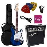 chitarre eletriche blu trasparente - chitarra elettrica blu - set con amplificatore da 20watt - borsa - plettro - corde - bianca scuro trasparente