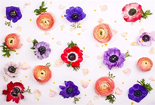Floral Photography Backdrop Polyester 7x5ft Orange Red Purple Flowers Scattered Flowerbed Pink Petals Newborn Baby Child Photoshoot Bridal Shower Birthday Party Banner Adult Shoot