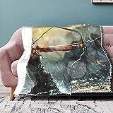 Manta suave, una sexy mujer soldada tira de un arco y flecha en el mar tormentoso, mantas cálidas y acogedoras para cama, sofá, sofá, microfibra de poliéster ligera, 152 x 127 cm