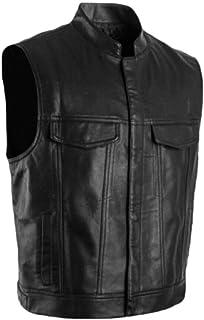 Men's Stand Collar PU Leather Winter Club Waistcoat Vest Jacket