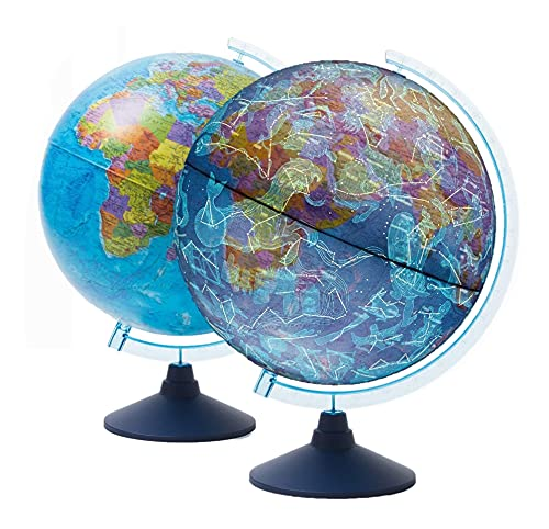 EXERZ Globe Terrestre lumineux 21 cm avec éclairage LED/Sans câble/Jour et nuit/Carte du monde en anglais - Carte politique/étoiles et constellations