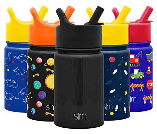 Simple Modern 10oz Summit Kids Water Bottle Thermos with Straw Lid - Dishwasher Safe Vacuum Insulated Double Wall Tumbler Travel Cup 18/8 Stainless Steel - Midnight Black