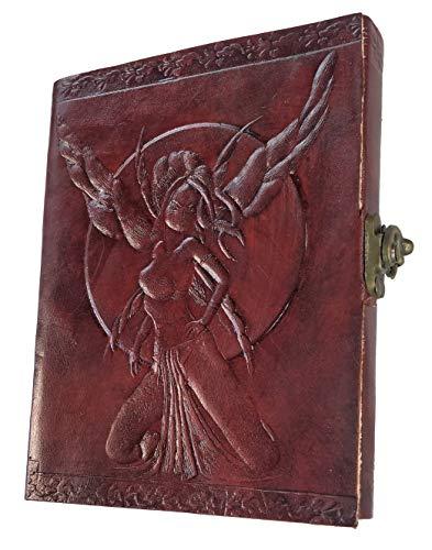 Kooly Zen – Cuaderno de notas, diario, libro, piel auténtica, vintage, hadas, manga, cierre, 13 x 17 cm, 240 páginas, papel premium