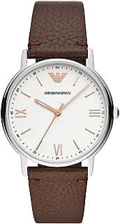Emporio Armani Men's Ar11173 Matte Silver Leather Analog Quartz Dress Watch