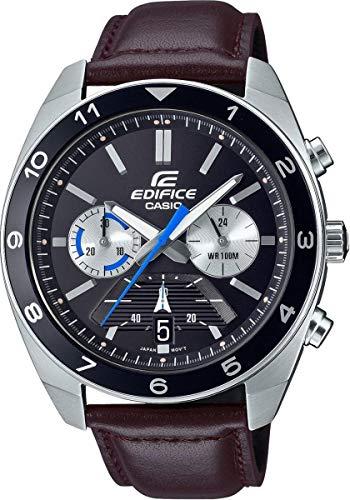 CASIO Herren Analog Quarz Uhr mit Echtes Leder Armband EFV-590L-1AVUEF
