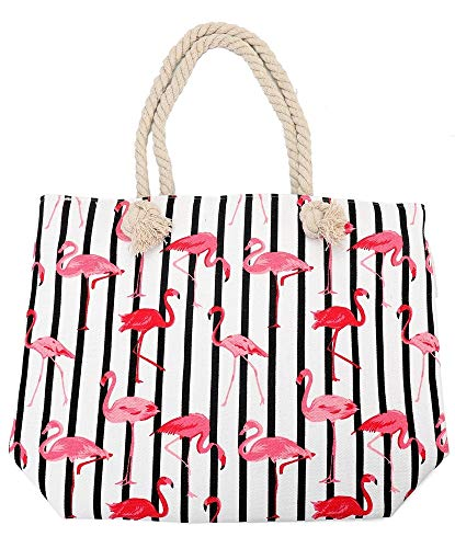 Dielay strandtas Flamingos en strepen canvas 43x34 cm wit