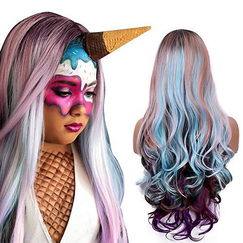 Moda Ombre Cosplay peluca rizada mujeres