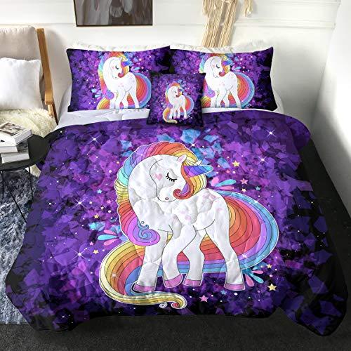 Sleepwish Unicorn Comforter Set Cute - Kids Teen Girls Purple Crystal Bedding Sets Full with Comforter - Lavender Rainbow Unicorn Bed Set - 4 Pcs - Soft, Lightweight and Reversible