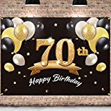 PAKBOOM Happy 70th Birthday Backdrop Black Gold Photo Background Banner 70 Birthday Decorations Party Supplies for Men