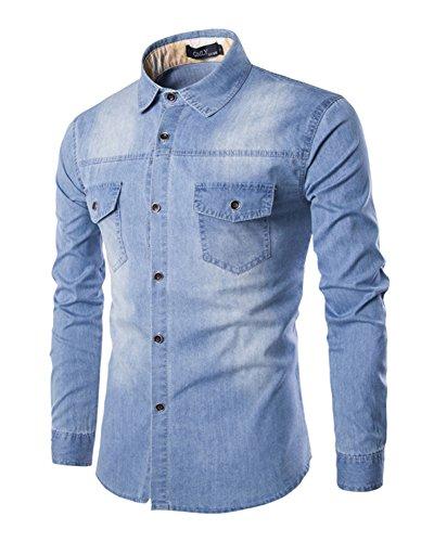 Gladiolus Camicia Jeans Classica Slim Fit Casual Manica Lunga Azzurro Chiaro XL