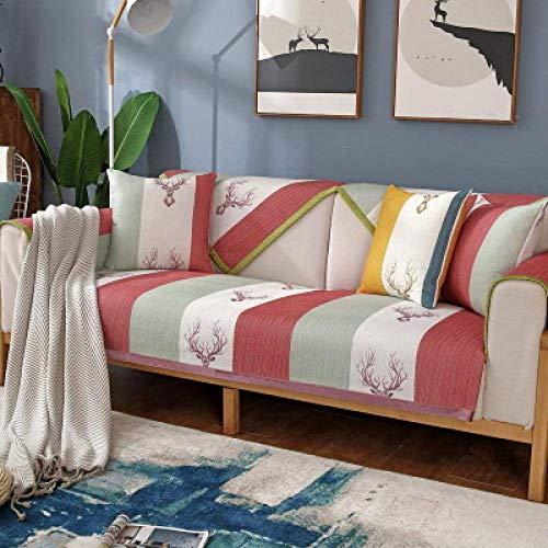JXJ Nordic einfaches Sofakissen 123 Sitz Schnittsofabezüge Universal Durable Furniture Protector für Hunde Haustiere Kinder, rot, 110 * 160