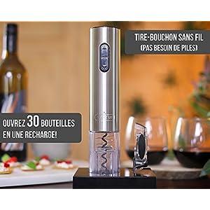Twinz'up Sacacorchos Eléctrico Inalámbrico - Estuche Premium con Cortador de Cápsulas y Base de Recarga - El Regalo Ideal para los Amantes del Vino (Plata)