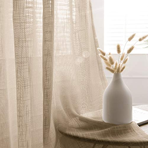 """Efavormart Pack of 2 52""""x84"""" Beige Faux Linen Curtains, Semi Sheer Curtain Panels with Chrome Grommet for Living Room Home Decor Window Privacy Linen Textured Drapes"""