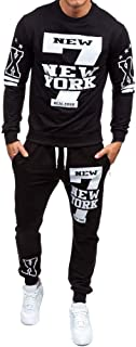 Realdo Men`s 2Pcs Casual Print Letter New York Sweat Sets Sports Suit Tracksuit