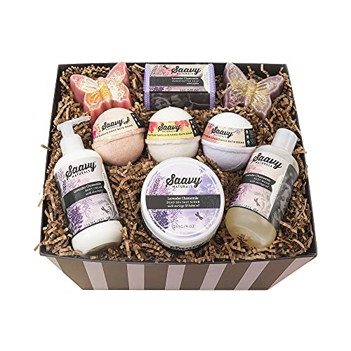 pamper gift baskets Pamper Yourself All Natural Spa Gift Baskets for Women and Men by Saavy Naturals - Gluten-Free and Vegan - 9 Piece Relaxing Handmade Bath Products