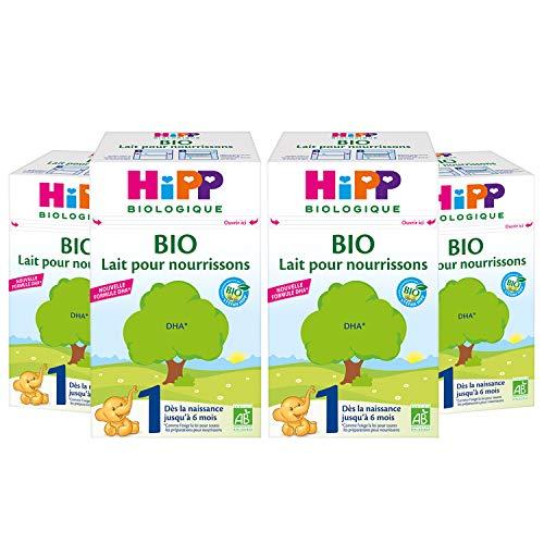Hipp Biologique Lait 1 pour Nourrissons Bio 600 g - Lot de 4