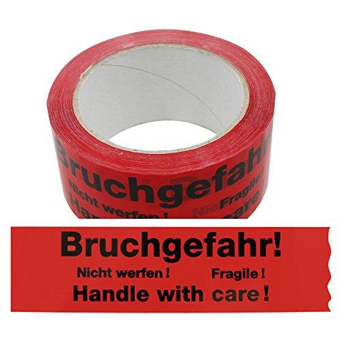 6 Rollen Klebeband Bruchgefahr - Nicht werfen! - Fragile - Handle with Care! 2-sprachig Paketband Packband Warnband Hinweisklebeband