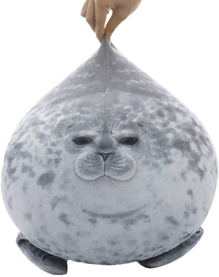 Adurello Osaka Chubby Blob Seal Plush Round Pillow Ocean Soft Hugging Stuffed Animal Toy for Adults and Kids White-40cm//15.7inch