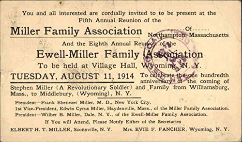 Miller Family and Ewell-Miller Family Reunion Invitation, 1914 Original Vintage Postcard