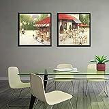 mauroan Decoración de la Pared Carteles de la Calle París e impresión Arte de la Pared Pintura de la Lona Café Abstracto Cuadros para la Sala de Estar Decoración del hogar