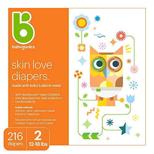 Baby Diapers Size 2 1218 lbs 216 Count Babyganics Ultra Absorbent Unscented Made without Chlorine Latex