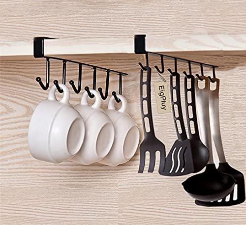 EigPluy 2pcs Tazas Vasos de Vino de Almacenamiento Ganchos Utensilios de Cocina Lazos Cinturones y Bufanda Colgando Gancho Soporte de Rack Debajo del Gabinete Armario sin Perforación,Negro