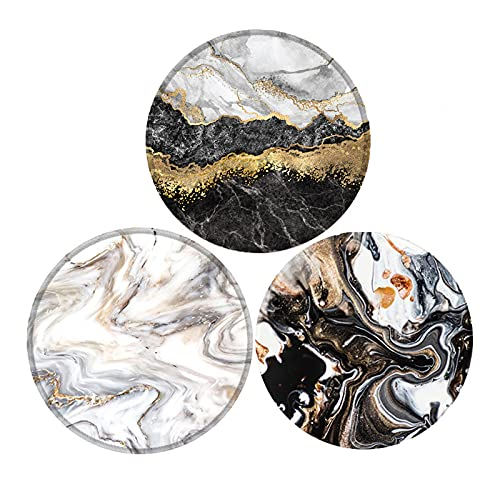 Mouse Pad,Non-Slip Rubber Base Mousepad with Stitched Edge Anti Slip Rubber Round Mousepads for Working and Gaming (Grey Black Golden Marble 3pack)