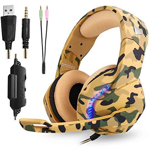 Phoinkas Gaming Headset für PS4,Xbox One, Nintendo Switch,PC,Smartphone,Über-Ohr Stereo Kopfhörer mit Mikrofon,LED Licht und Lautstärkeregler mit 3,5 mm Stecker,Y Audio-Splitter Lärmminderung