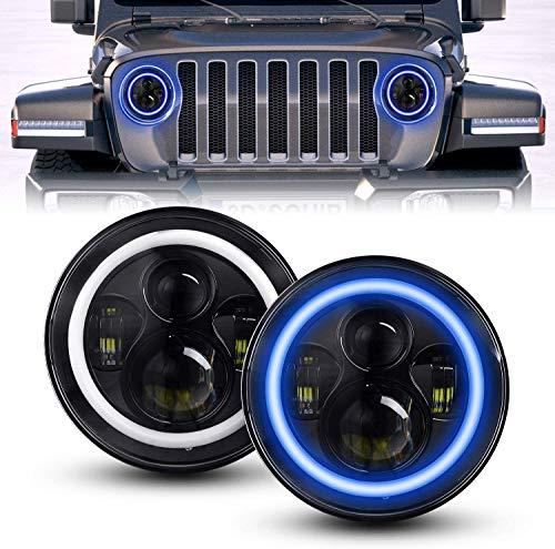 Faro a LED da 7 pollic, YEEGO DIREC 80W 9600LM Rotondo LED Fari con Fari Halo Blu DRL Indicatore di Direzione Giallo Ambra Fari H1 H2 Cromo (Blue Halo)