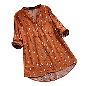 JOFOW Blouses Womens Boho Solid Cute Cats Print Tops V Neck Cotton Linen No Collar Buttons 3/4 Sleeve Loose Dress Shirts Gift  XL,Orange