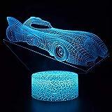 Tecnologia alla moda auto sportive da corsa luce notturna creativa LED luce multicolore decorazione creativa piccola lampada da tavolo 3D luce visiva acrilica luce notturna multicolore