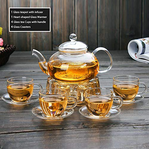 Adorable Full Glass Tea Kettle with Infuser Gift Set, Glass Teapot with Removable Strainer, 4 Small Cups and Saucers, Heart Shape Glass Crystal Warmer Heating Base for Blooming Loose Leaf Home Decor