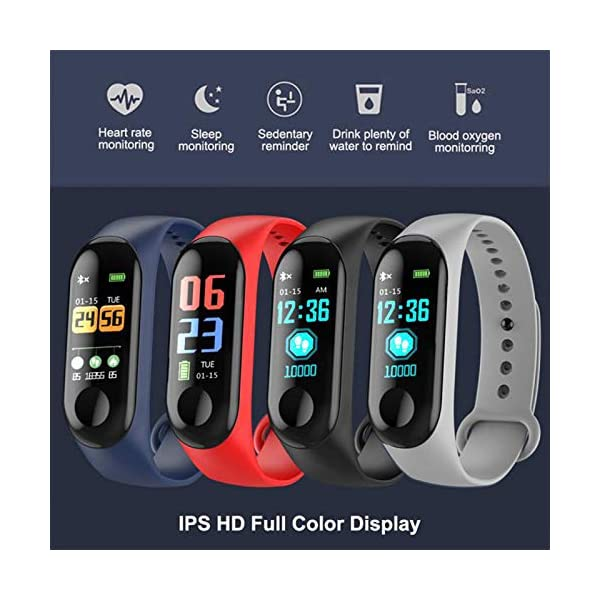 TaiRi Pulsera Inteligente Pantalla en Color HD IP68 Impermeable M3 Rastreador de Actividad Pulsera con presión Arterial… 8