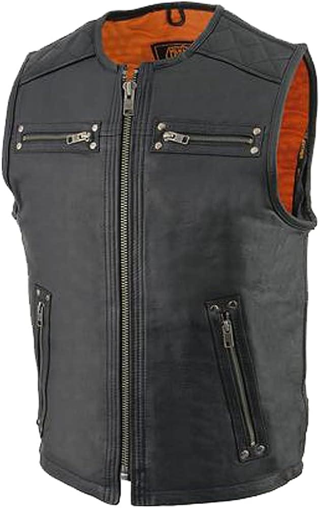 Men's Black Zipper Front Long Length Leather Vest Genuine Leather Vest.