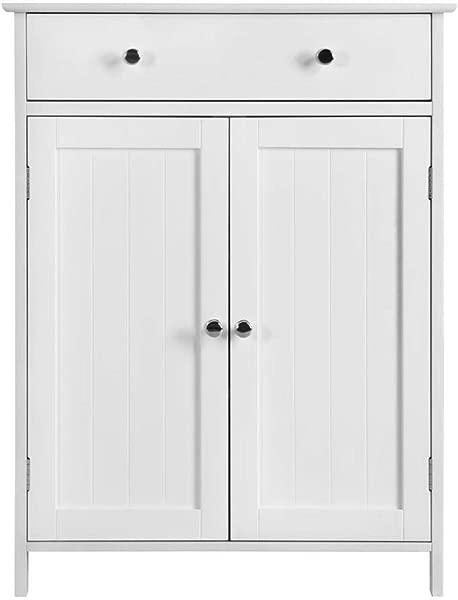 Yaheetech Wooden Bathroom Floor Storage Cabinet With Adjustable Shelf 1 Drawer 2 Doors Kitchen Cupboard 23 6 L X 11 8 W X 31 5 H