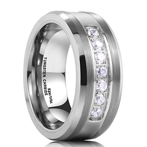 King Will GEM 8mm White Tungsten Ring Unisex Wedding Band Polished Beveled Edge CZ Stone Channel Set(12.5)